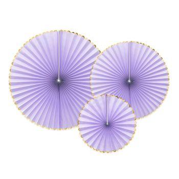 3 éventails lilas pastel liseré or