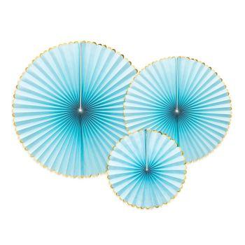 3 éventails bleu pastel liseré or