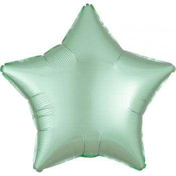 Ballon hélium satin luxe vert pastel étoile