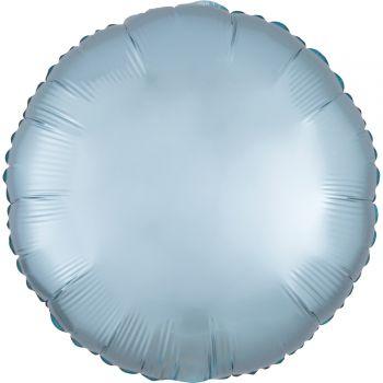 Ballon hélium satin luxe bleu pastel rond