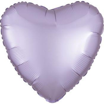 Ballon hélium satin luxe lilas pastel coeur