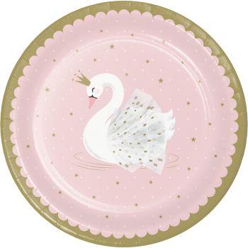 8 Assiettes Swan party