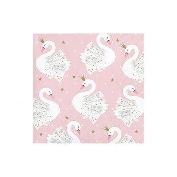 16 petites serviettes Swan party