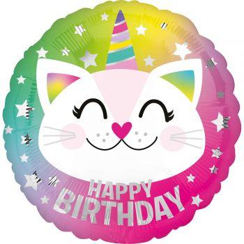 Ballon hélium Happy birthday chat licorne 43cm