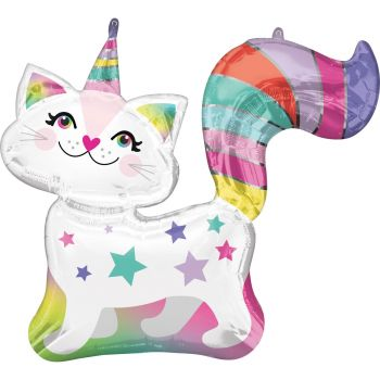Ballon hélium Happy birthday chat licorne 78cm
